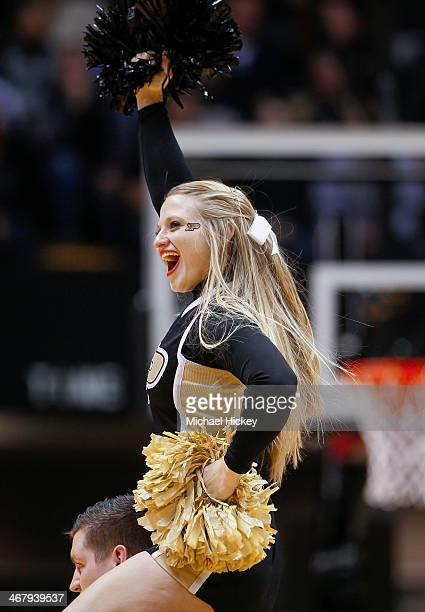 Purdue Boilermakers cheerleader seen on the court during the game against the Wisconsin Badgers at Mackey Arena on January 25 2014 in West Lafayette...