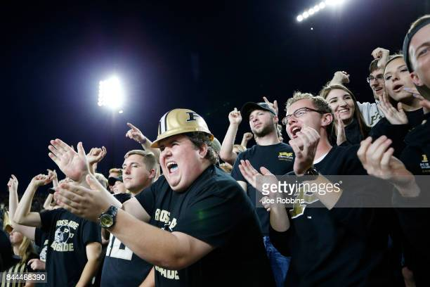 Purdue Boilermakers fans celebrate in the second quarter of a game against the Ohio Bobcats at RossAde Stadium on September 8 2017 in West Lafayette...