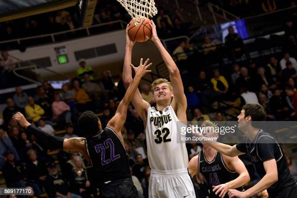 Purdue Boilermakers Forward Matt Haarms goes up strong during an exhibition game between the Purdue Boilermakers and the Carroll Fighting Saints on...