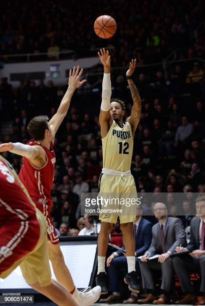 Purdue Boilermakers forward Vincent Edwards shoots a jump shot during the Big Ten conference college basketball game between the Wisconsin Badgers...