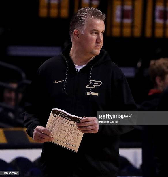 Purdue Boilermakers head coach Matt Painter is pictured at Purdue team practice at TD Garden in Boston on March 22 2018