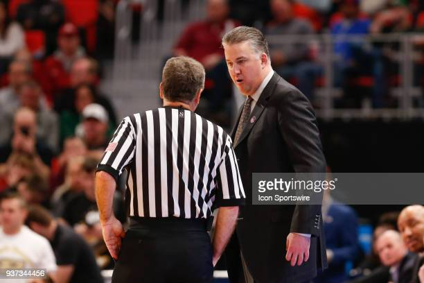 Purdue Boilermakers head coach Matt Painter questions an official's call during the NCAA Division I Men's Championship First Round basketball game...