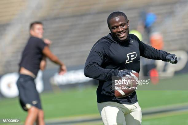 Purdue Boilermakers running back DJ Knox dances to the music played over the loudspeaker during warmups for the Big Ten Conference game between the...