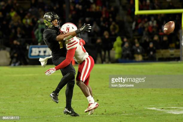 Purdue Boilermakers wide receiver Jared Sparks reaches out for the ball as Nebraska Cornhuskers defensive back Dicaprio Bootle is called for pass...