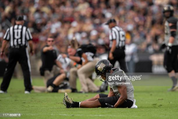 Purdue Boilermakers wide receiver Rondale Moore and Purdue Boilermakers quarterback Elijah Sindelar both get injured on the same play during the...