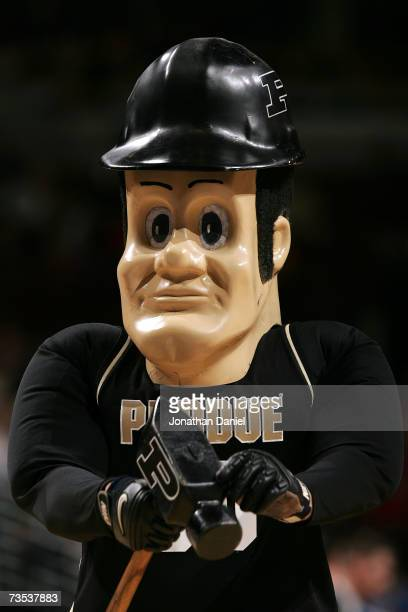 Purdue Pete the mascot of the Purdue Boilermakers performs against the Iowa Hawkeyes during the quarterfinals of the Big Ten Men's Basketball...