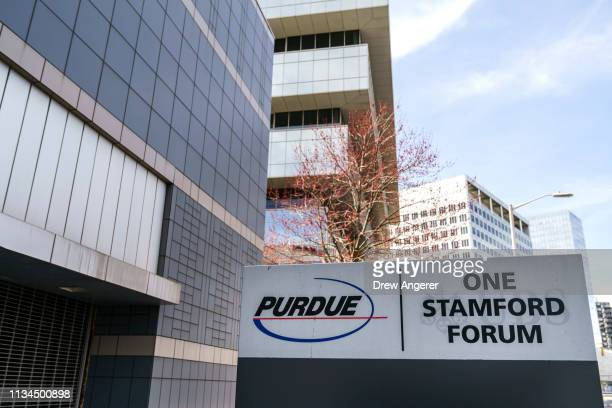 Purdue Pharma headquarters stands in downtown Stamford, April 2, 2019 in Stamford, Connecticut. Purdue Pharma, the maker of OxyContin, and its...