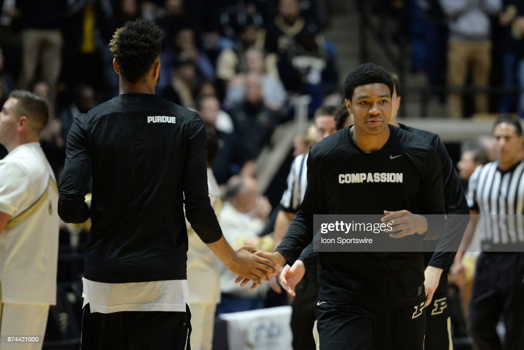 Purdue Players Wear Motivational Shirts As They Warm Up For The