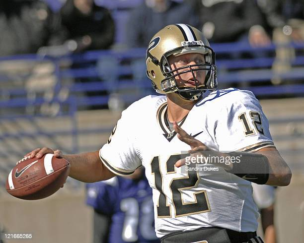 Purdue QB Curtis Painter looks to pass in a game won by Purdue over Northwestern 31-10 at Ryan Field in West Lafayette, Indiana on October 14, 2006.