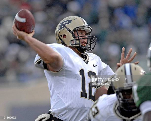 Purdue QB Curtis Painter throws a TD pass in the 3rd quarter in the Purdue win over Michigan State, 17-15 at Spartan Stadium in East Lansing,...