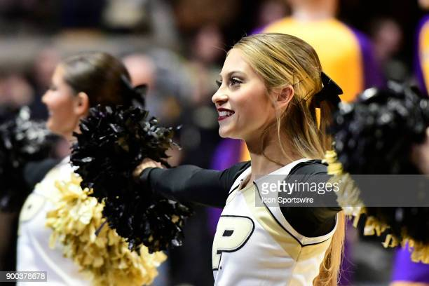 Purdue University Boilermakers cheerleaders perform during the game against the Lipscomb University Bisons Saturday December 30 at Mackey Arena in...