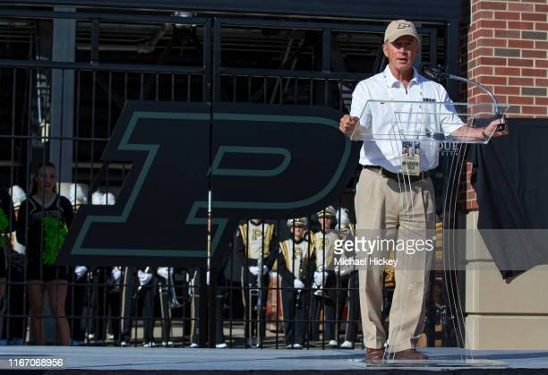 Purdue University President Mitch Daniels is seen before the game against the Vanderbilt Commodores at Ross-Ade Stadium on September 7, 2019 in West...