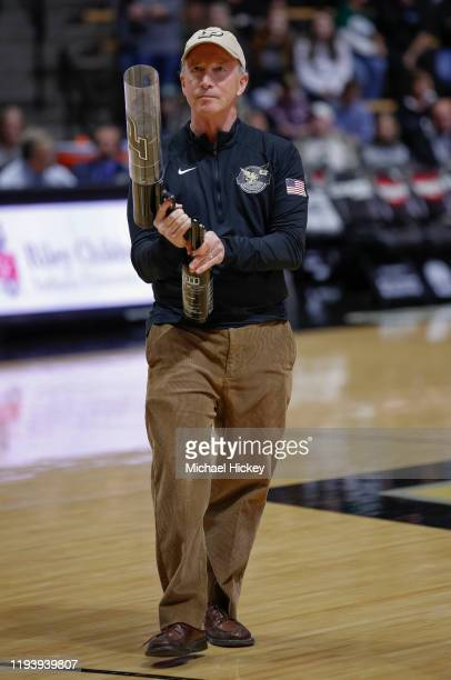 Purdue University President Mitch Daniels is seen before the game against the Michigan State Spartans at Mackey Arena on January 12, 2020 in West...