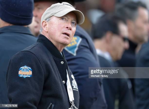 Purdue University President Mitch Daniels is seen during the game against the Nebraska Cornhuskers at Ross-Ade Stadium on November 2, 2019 in West...