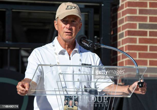 Purdue University President Mitch Daniels speaks during the opening ceremony of the Tyler Trent Student Gate before the game against the Vanderbilt...