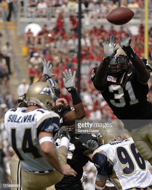 Purdue's Bernard Pollard blocks a punt in the first quarter of Purdue's 49-24 win over Akron at Ross Ade Stadium in West Lafayette, Indiana on...