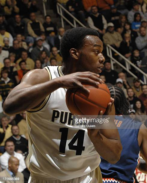 Purdue's Carl Landry grabs a rebound and looks up court in the game won by Purdue over Illinois 6447 in Mackey Arena West Lafayette IN Jan 27 2007...