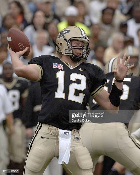 Purdue's Curtis Painter prepares to pass in Purdue's 2821 win over Michigan State in Ross Ade Stadium West Lafayette IN