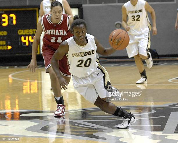 Purdue's FahKara Malone races up the Court after a steal in the game won by Purdue 7351 over Indiana in Mackey Arena West Lafayette Indiana on...
