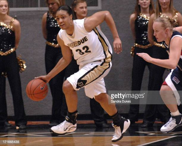 Purdue's Lindsey WisdomHylton races the ball up court after a rebound in the game won by Purdue over Gonzaga 6944 in Mackey Arena West Lafayette...