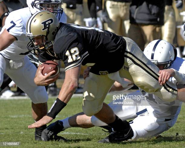 Purdue's QB Curtis Painter is tackled as he scrambles by Penn State's Sean Lee in Penn State's 120 win over Purdue at RossAde Stadium in West...
