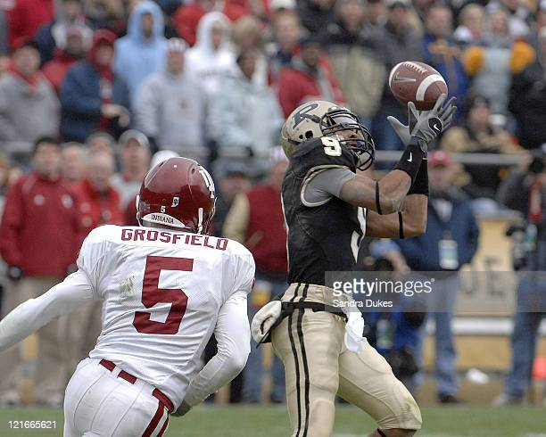 Purdue's WR Dorein Bryant makes a catch in front of Troy Grosfield. Purdue defeated Indiana 28-19 in Ross Ade Stadium, West Lafayette, Indiana on...