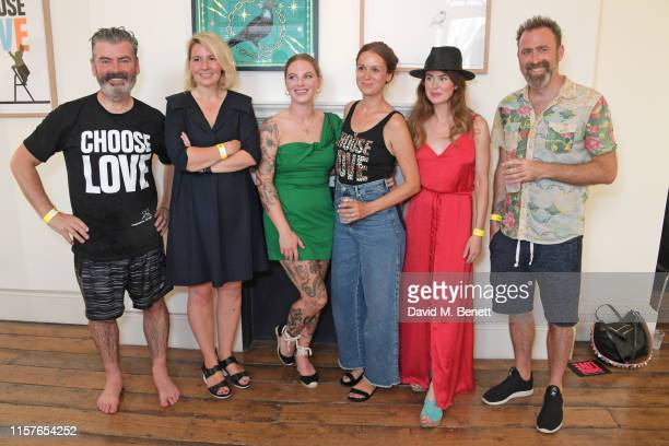 Pure Evil aka Charles UzzellEdwards Joanna Ham Alex May Hughes Kate Higginson Lauren Baker and Dan Hillier attend Print Club London's 'Choose Love'...