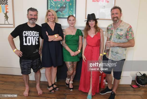 Pure Evil aka Charles UzzellEdwards Joanna Ham Alex May Hughes Lauren Baker and Dan Hillier attend Print Club London's 'Choose Love' collaboration...