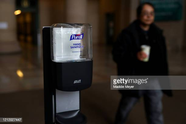 Purell hand sanitizer inside the Information Center on the campus of Massachusetts Institute of Technology on March 12 2020 in Cambridge...