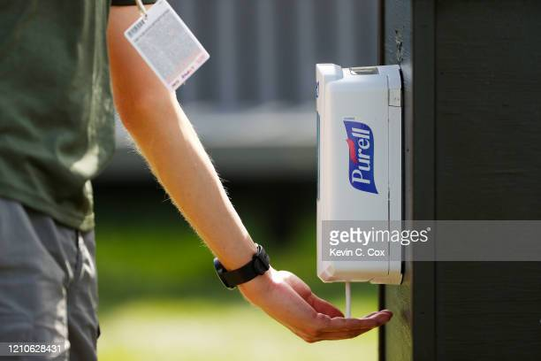 Purell hand sanitizer is used during the first round of the Arnold Palmer Invitational Presented by MasterCard at the Bay Hill Club and Lodge on...