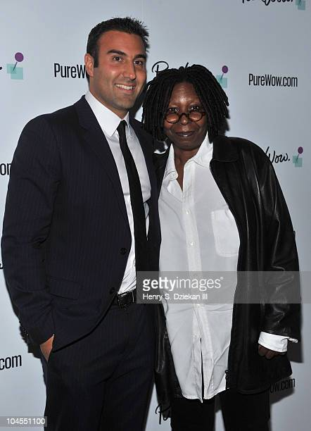 Purewowcom Ryan Harwood and actress/comedian Whoopi Goldberg attend the PureWowcom launch party at the Renaissance New York Times Square on September...