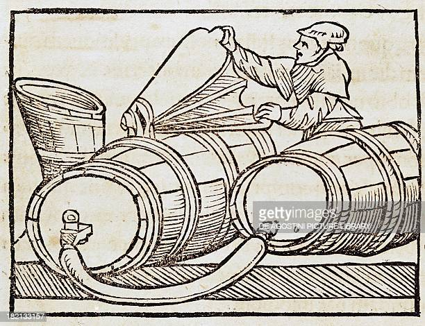 Purgatory of the wine illustration taken by De Agricultura Vulgare by Pietro de' Crescenzi Italy 15th century Venice Biblioteca Nazionale Marciana