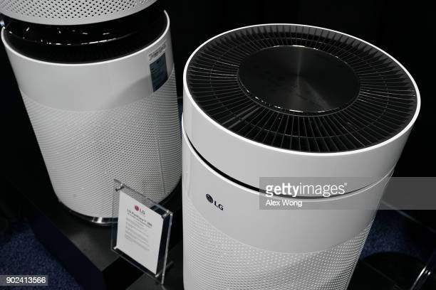 PuriCare TM 360 air purifier with SmartThinQ TM is displayed during a press event for CES 2018 at the Mandalay Bay Convention Center on January 7...
