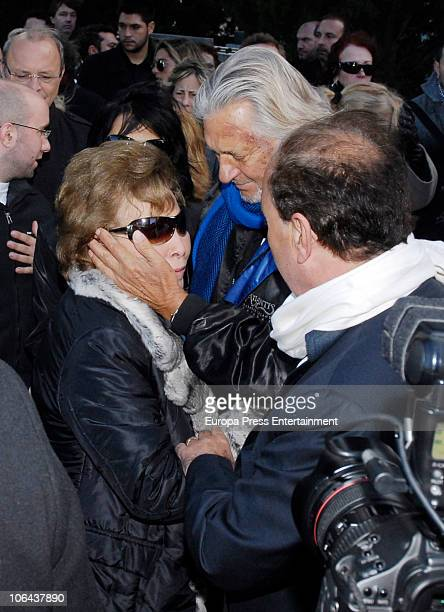 Purificacion Aguilera and Marc Ostarcevic attend the funeral for Carla Duval sister of vedette Norma Duval at San Isidro Cementery on November 1 2010...