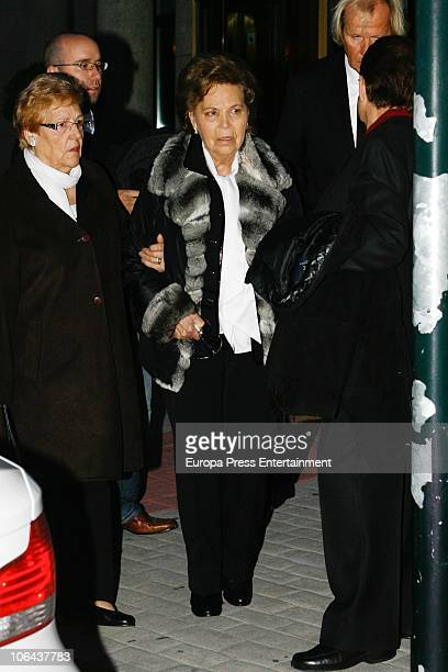 Purificacion Aguilera attends the funeral for her daughter Carla Duval sister of vedette Norma Duval at San Isidro Cementery on November 1 2010 in...