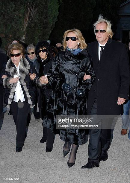 MADRID NOVEMBER 01 Purificacion Aguilera Norma Duval and Mathias Kuehn attend the funeral for Carla Duval sister of vedette Norma Duval at San Isidro...