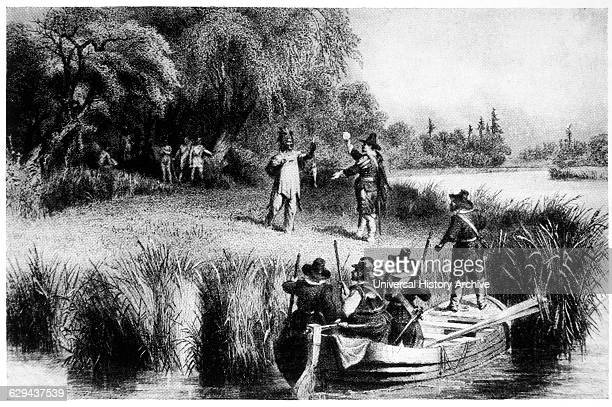 Puritan Colonists from the Ship Mary John Bargaining with Native Americans Illustration 1630