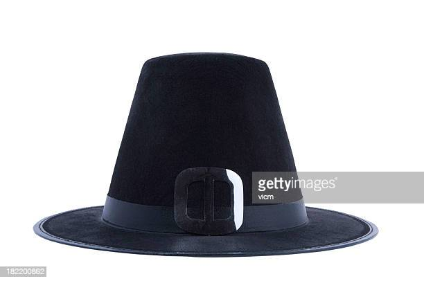 puritan's hat - pilgrims stock photos and pictures
