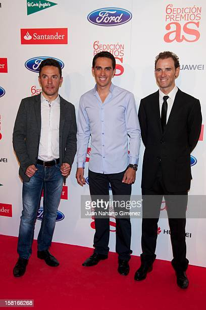 Purito Rodriguez Alberto Contador and Alejandro Valverde attend As del Deporte awards 2012 at Palace Hotel on December 10 2012 in Madrid Spain