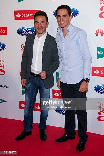 Purito Rodriguez and Alberto Contador attend As del Deporte awards 2012 at Palace Hotel on December 10 2012 in Madrid Spain
