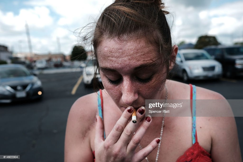 Purity, a heroin addict who is looking for help to quit, attends a march through the streets of Norwalk against the epidemic of heroin in the community on July 14, 2017 in Norwalk, Ohio. The day of action, called Hope Not Heroin, featured a march, speakers, and live bands. According to recent statistics, at least 4,149 Ohioans died from drug overdoses in 2016, a 36 percent leap from just the previous year and making Ohio the leader in the nation's overdose deaths.