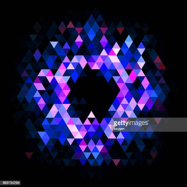 purple and blue triangular abstract background on black background - circle pattern stock pictures, royalty-free photos & images