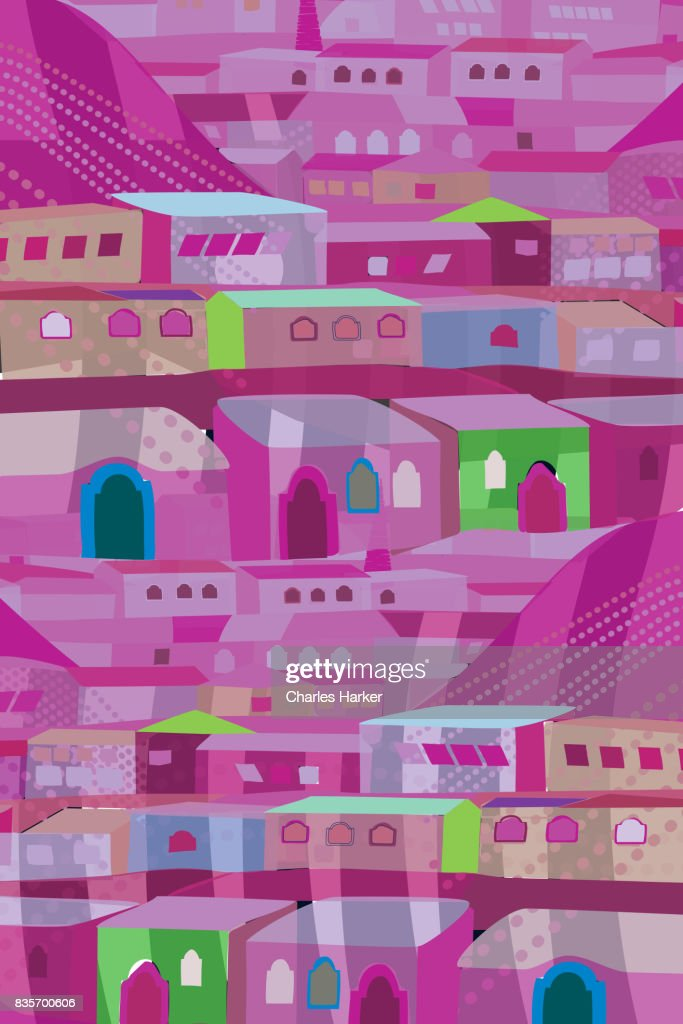 Purple and Green Row House Illustration : Stock Photo