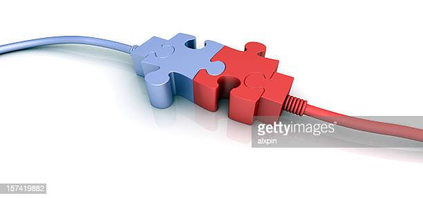 purple and red cord connectors shaped like puzzle pieces - bandwidth stock pictures, royalty-free photos & images