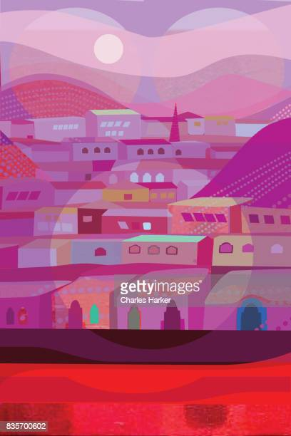 Purple and Red Row Houses Illustration
