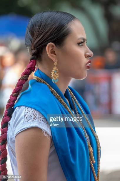 purple braids and a blue sash on the día de los muertos, oaxaca - mexican fiesta stock pictures, royalty-free photos & images
