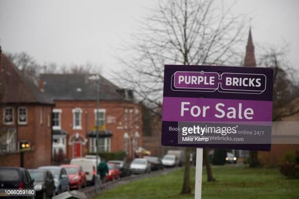 Purple Bricks For Sale sign in Moseley / Kings Heath area in Birmingham United Kingdom Purplebricks is a British online estate agent Founded in 2012