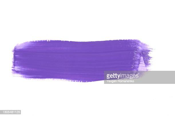 purple brush stroke isolated on white background - stroking stock pictures, royalty-free photos & images