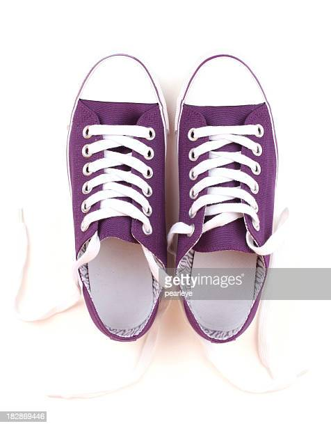 purple canvas shoes - purple shoe stock pictures, royalty-free photos & images