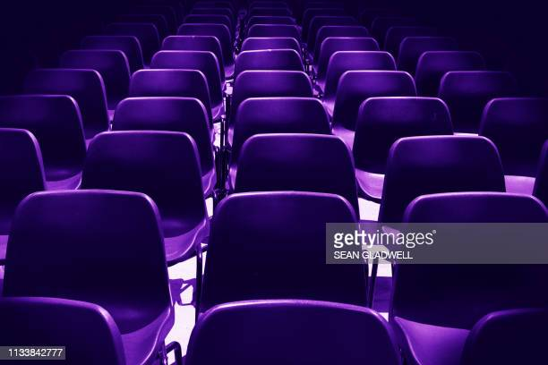 purple chairs - conference stock pictures, royalty-free photos & images